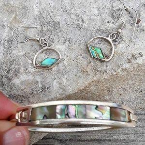 Vtg Alpaca Silver Earrings & Bracelet